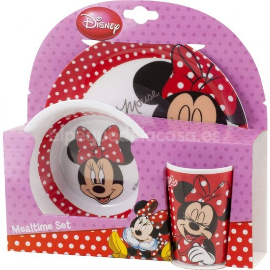 Vajilla 3 piezas minnie mouse for Amazon vajillas completas
