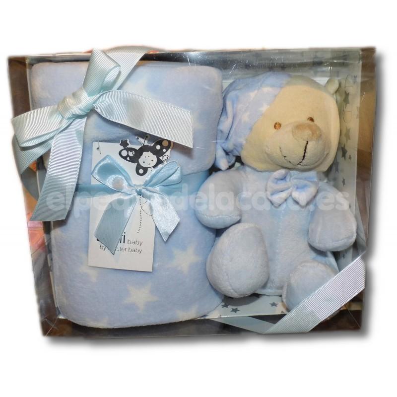 Set de regalo para beb/é con manta y gorro de peluche rosa Rosa.